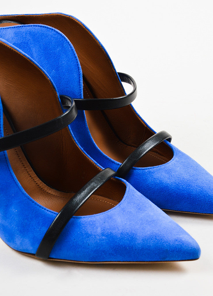 Royal Blue Malone Souliers Suede Leather Strap Pumps Detail