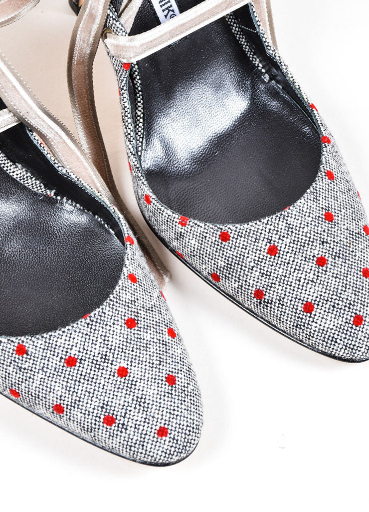 Grey and Red Manolo Blahnik Tweed and Velvet Polka Dot Lace Up Slingback Pumps Detail