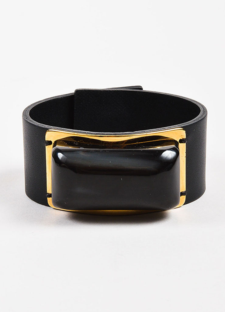 Marni Black and Gold Toned Leather and Resin Stone Snap Button Cuff Bracelet Frontview