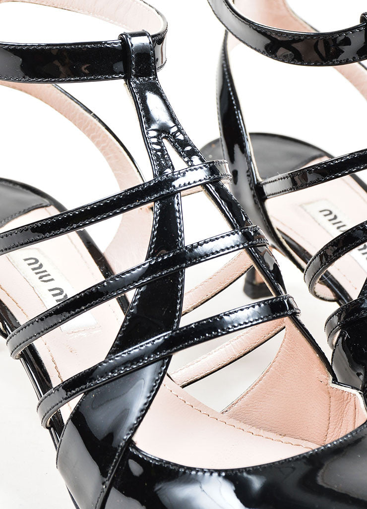 Black Miu Miu Patent Leather Caged Pointed Toe Kitten Heels Detail