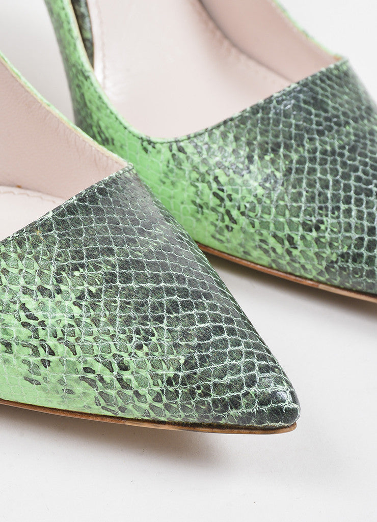 Miu Miu Green and Black Leather Embossed Snakeskin Printed Pointed Toe Pumps Detail