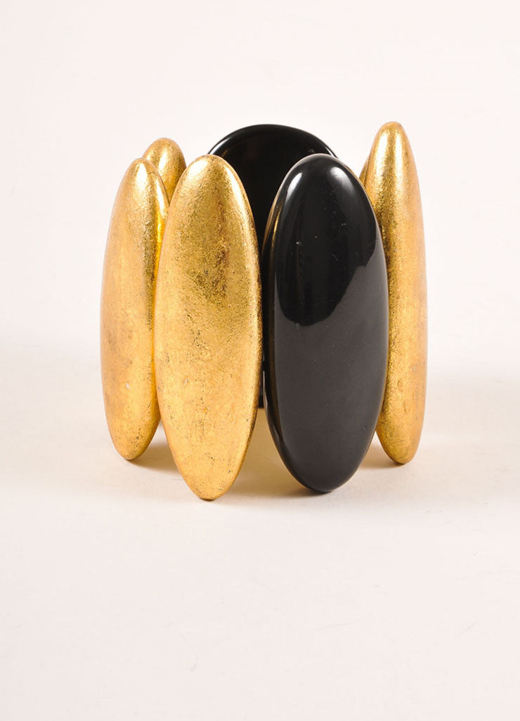 Monies Black and Gold Toned Metallic Oversized Oval Bead Stretch Statement Bracelet Frontview