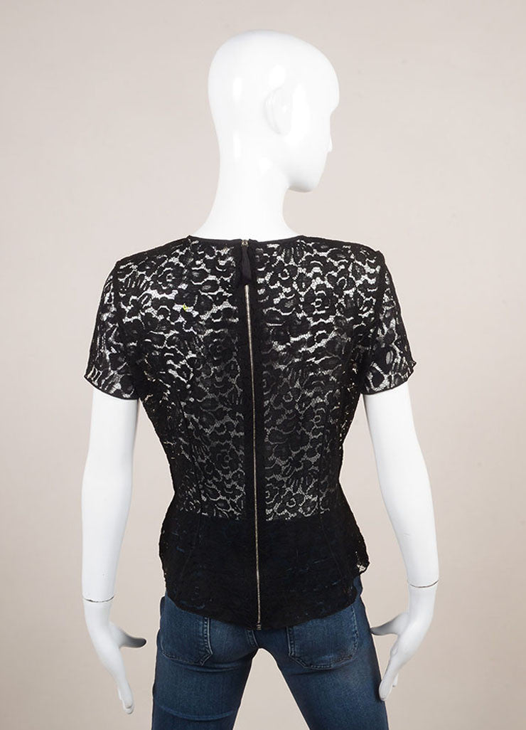 Nina Ricci Black Lace Paneled Sheer Short Sleeve Top Backview