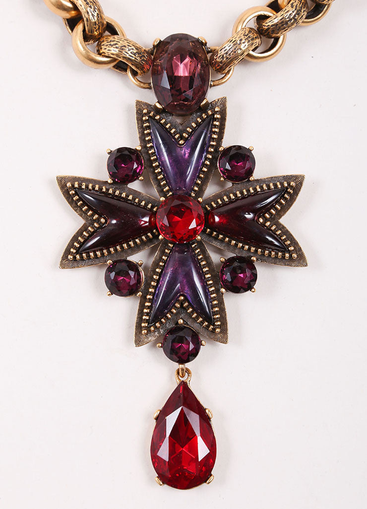Oscar de la Renta Purple and Red Stone Pendant Gold Toned Chain Necklace Detail