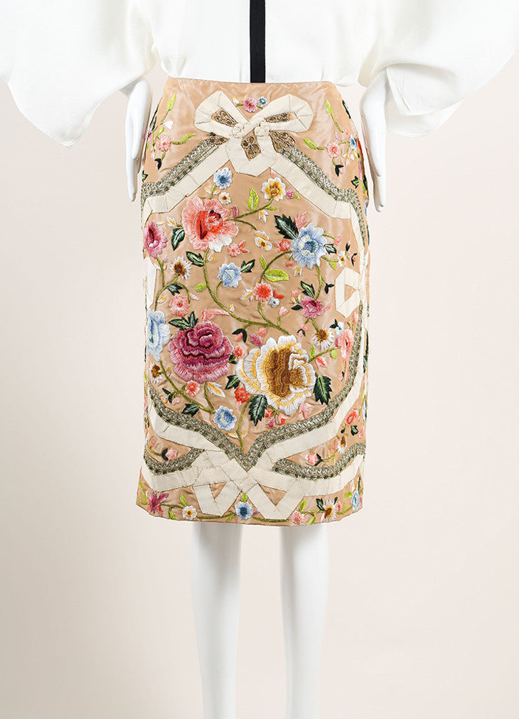 Oscar de la Renta Tan and Multicolor Satin Ribbon Floral Embroidered A-Line Skirt Frontview