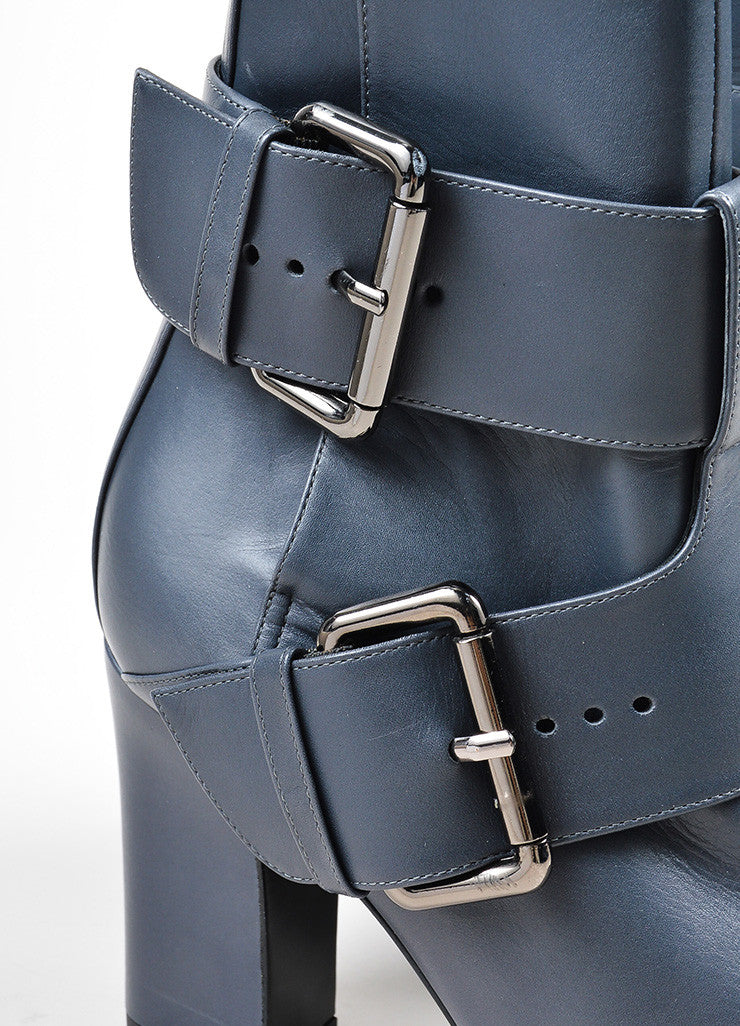 "Grey Pierre Hardy Leather Dual Buckled ""Anthra"" Ankle Boots Detail"