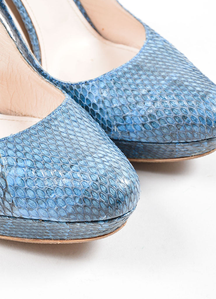 "Prada Blue ""Azzurro"" Ayers Snakeskin High Heel Pumps Detail"