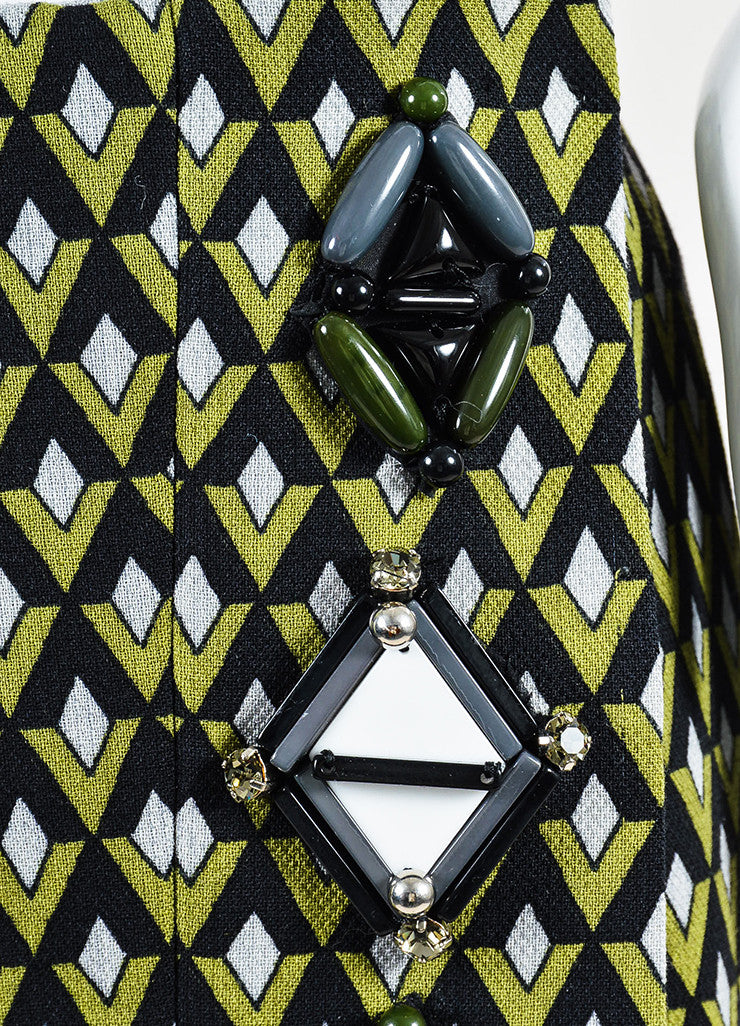 Prada Green and Black Woven Geometric Beaded Wrap A Line Knee Length Skirt Detail