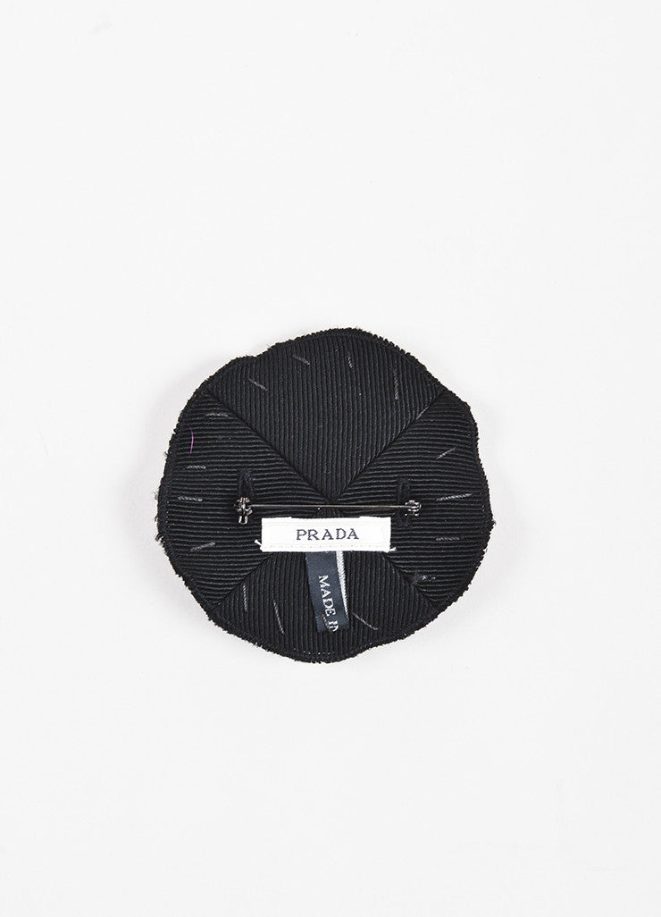 Prada Black Silk Twill Clear Jewel Circle Brooch Pin Backview