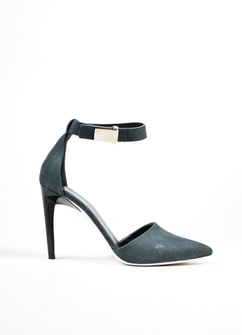 Dark Grey Proenza Schouler Suede Pointed Toe D'Orsay Pumps Sideview