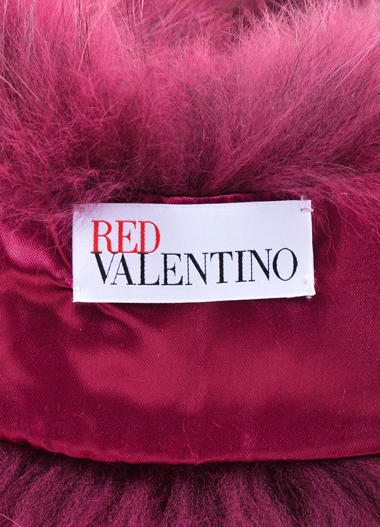 Magenta and Black Red Valentino Fur Tie Collar Brand