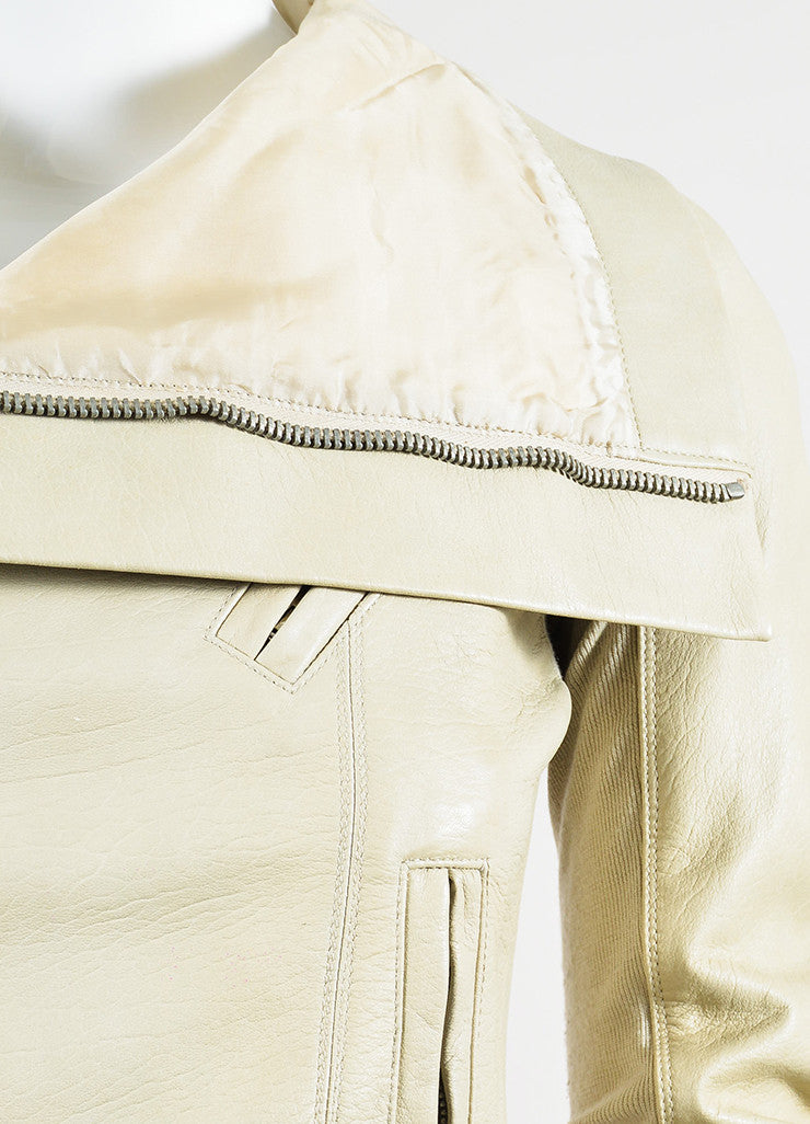 Beige Rick Owens Leather Draped Collar Jacket Detail