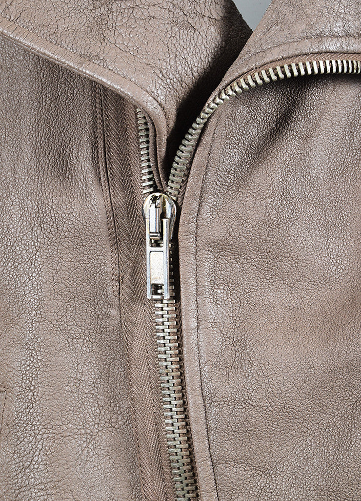 "Rick Owens ""Dust"" Dark Taupe Lambskin and Wool Asymmetrically Zipped Jacket Detail"