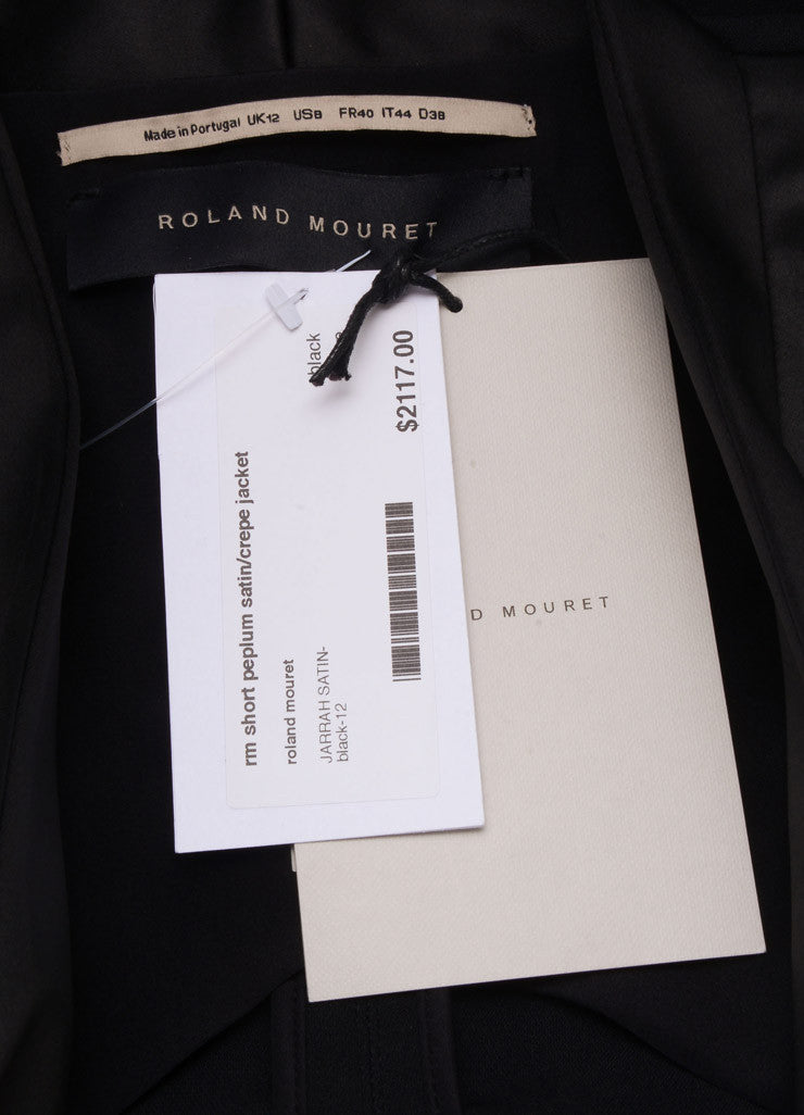 Roland Mouret New With Tags Black Satin Crepe Contrast Peplum Blazer Jacket Brand