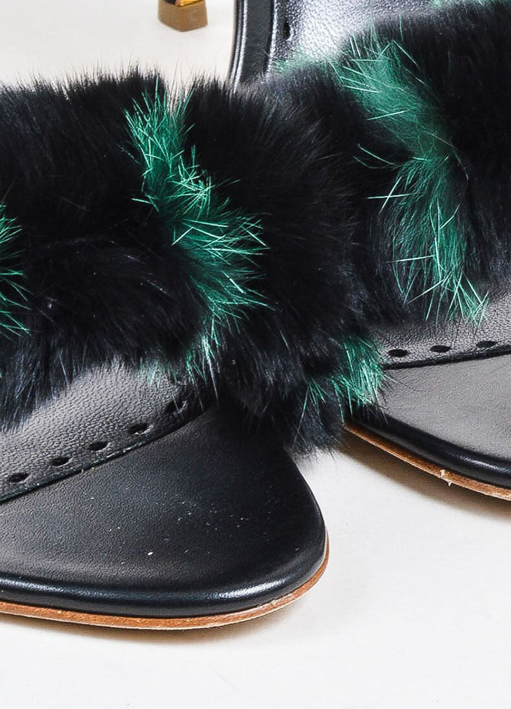 "Black and Green Rupert Sanderson Leather and Fur ""Mikie"" Sandal Heels Detail"