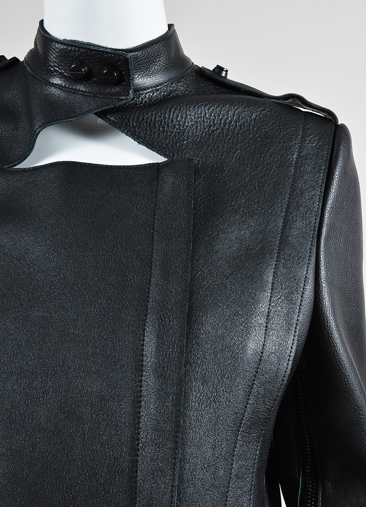 Black Sally Lapointe Leather Asymmetrical Biker Jacket Detail
