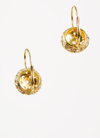 "Sidney Garber 18K Yellow Gold and Diamond ""Honeycomb"" Drop Earrings Backview"