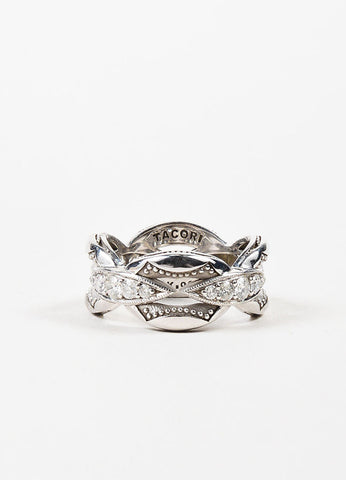 Tacori Sterling Silver Diamond Crescent Links Stacking Ring Backview
