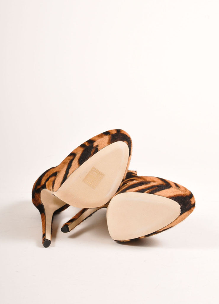Tania Spinelli New In Box Tan and Black Pony Hair Tiger Print Platform Pumps Outsoles