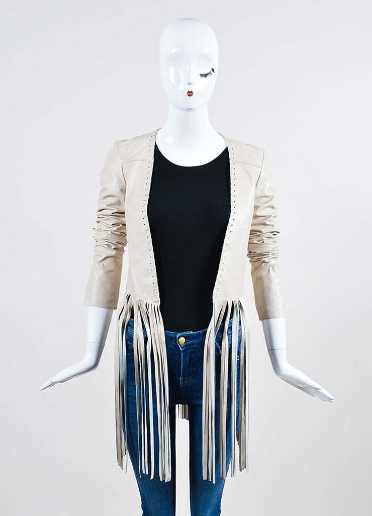 "The Perfext Cream Leather Laced ""Christy"" Fringe Jacket Frontview"