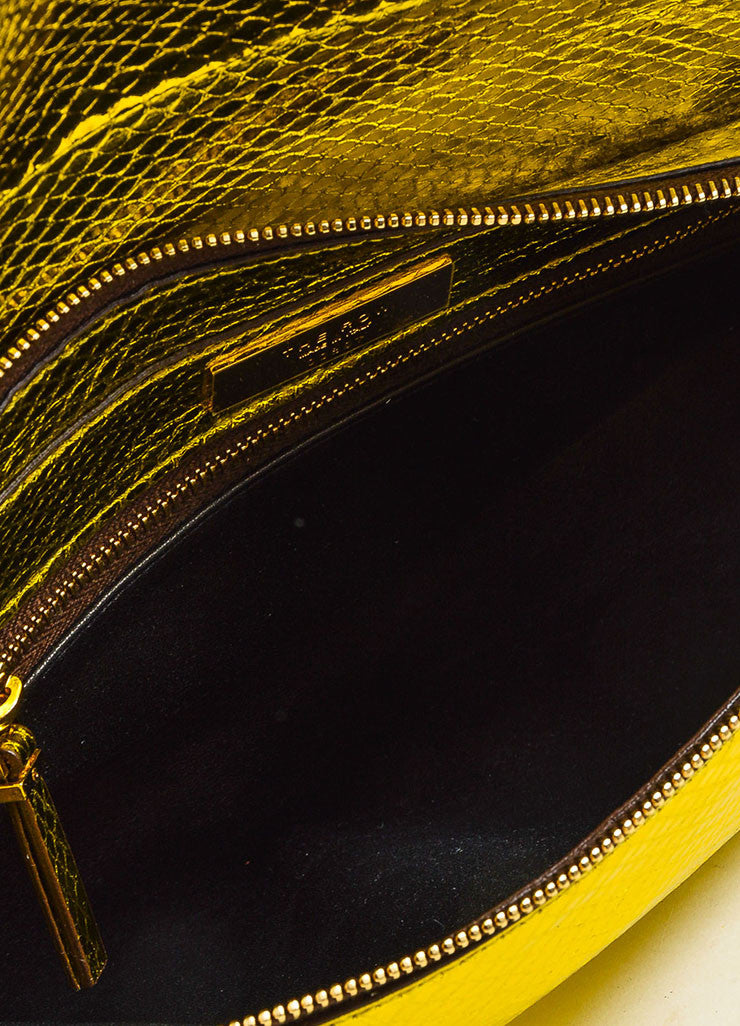 The Row Gold and Yellow Metallic Python Small Flap Bag Interior