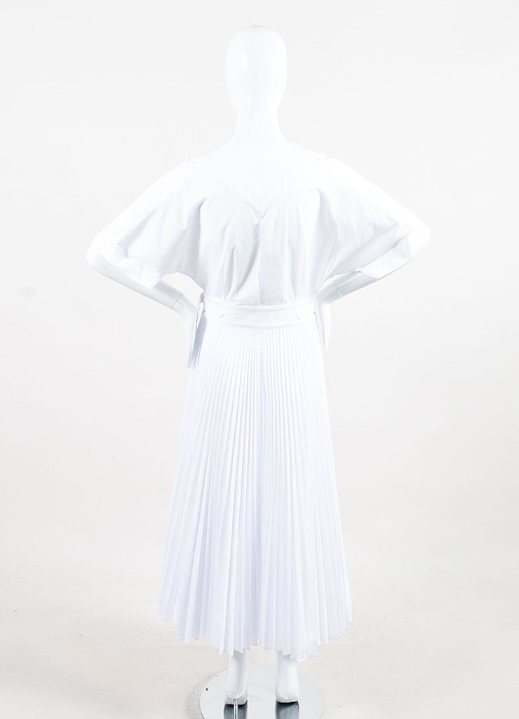 Tome White Wrap V-Neck Pleated Short Sleeve Dress Backview