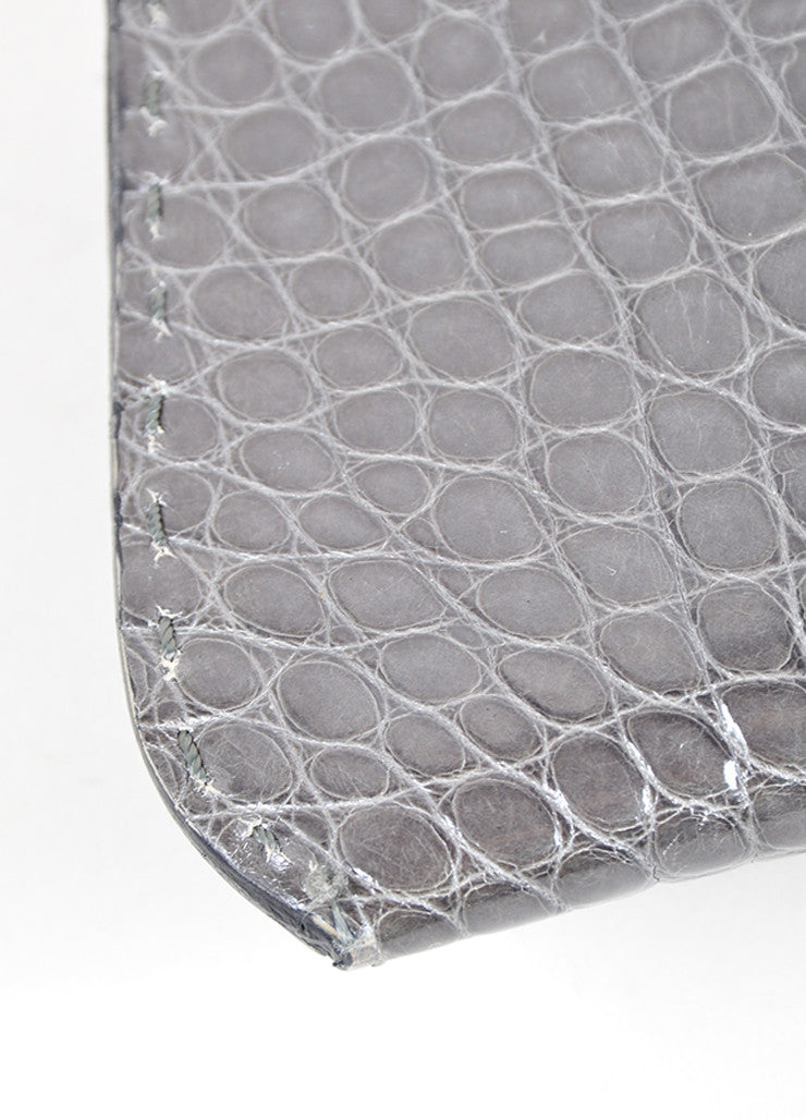 "VBH Slate Gray Crocodile Skin Leather ""Martini"" Clutch Handbag Detail"