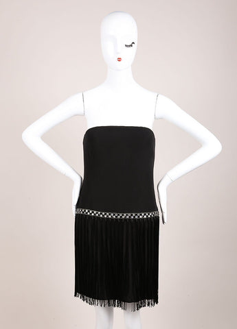 Bob Mackie Black and Clear Rhinestone Bead and Fringe Trim Strapless Dress Frontview
