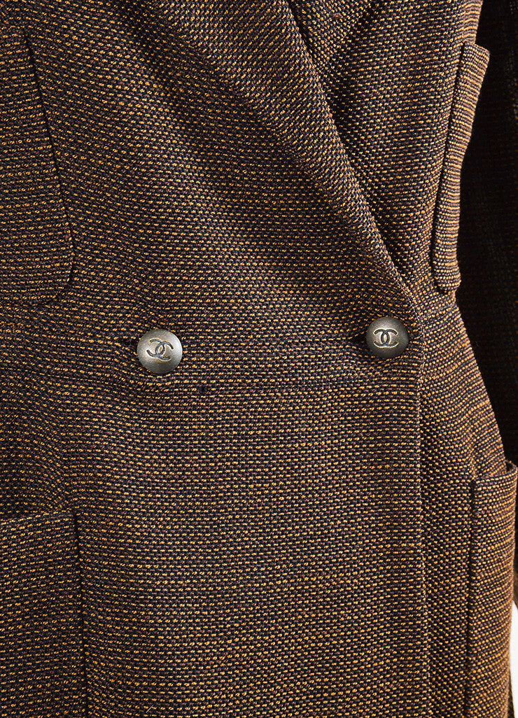 Chanel Brown and Black Wool Woven Double Breasted Button Up Jacket Detail