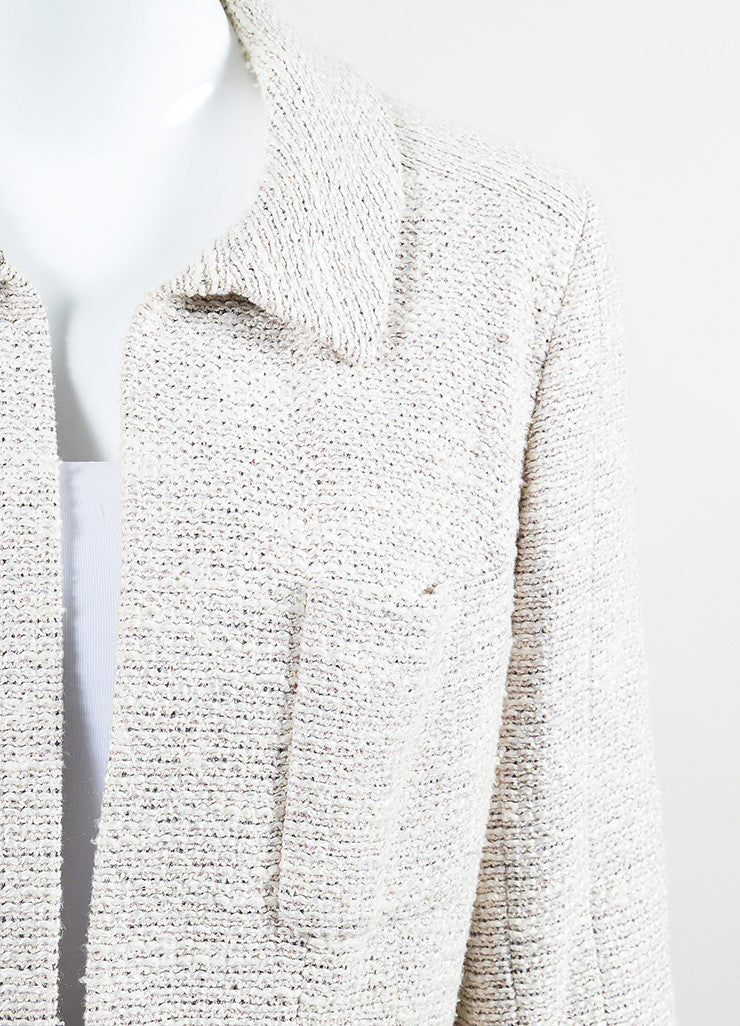 Chanel Beige and Metallic Wool Blend Long Structured Jacket Detail