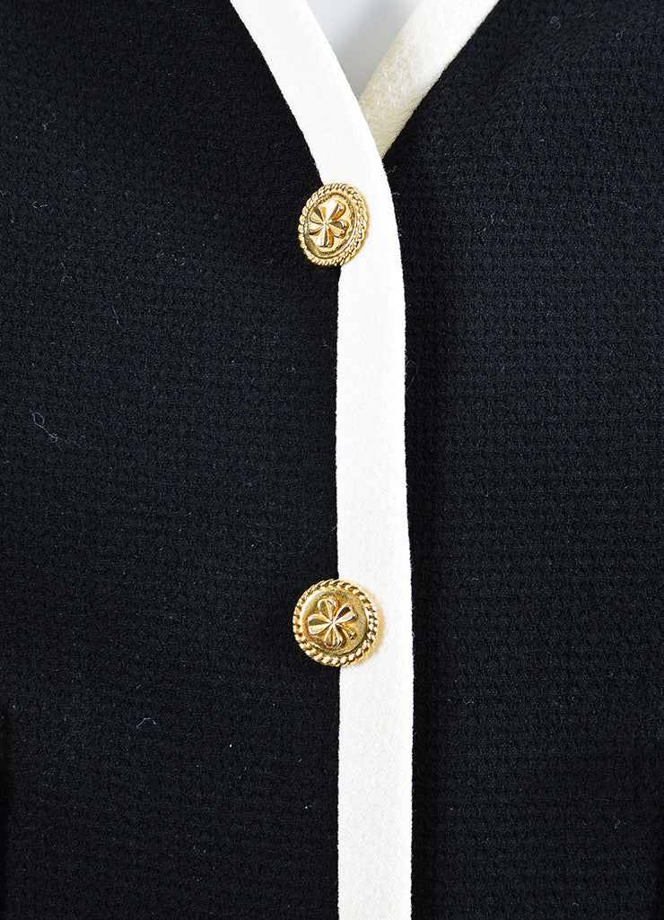 Black and Cream Chanel Wool Gold Toned Shamrock Button Jacket Detail