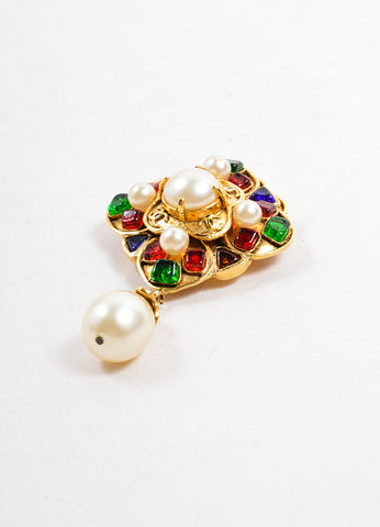 Chanel Gold Toned, Multicolor Stone, and Faux Pearl Dangle Brooch Sideview