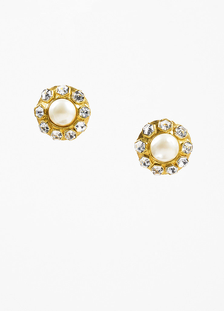 Chanel Gold Toned Oversized Faux Pearl Crystal Round Clip On Earrings Frontview