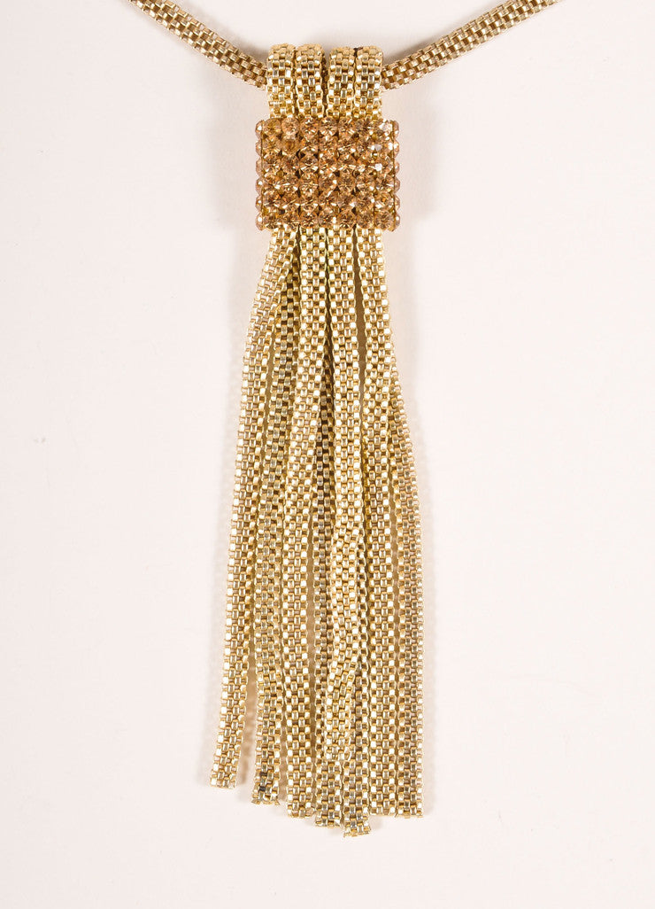 Vintage Gold Toned Rhinestone Trim Tassel Pendant Box Chain Necklace Detail