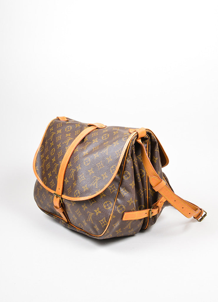"Brown Louis Vuitton Monogram ""Saumur 35"" Messenger Bag Side"