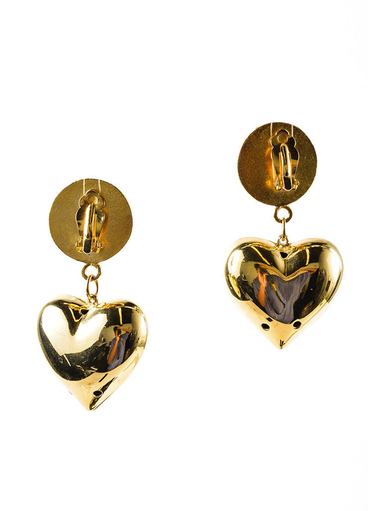 Gold Toned and Faux Pearl Large Heart Drop Bijoux Earrings Backview