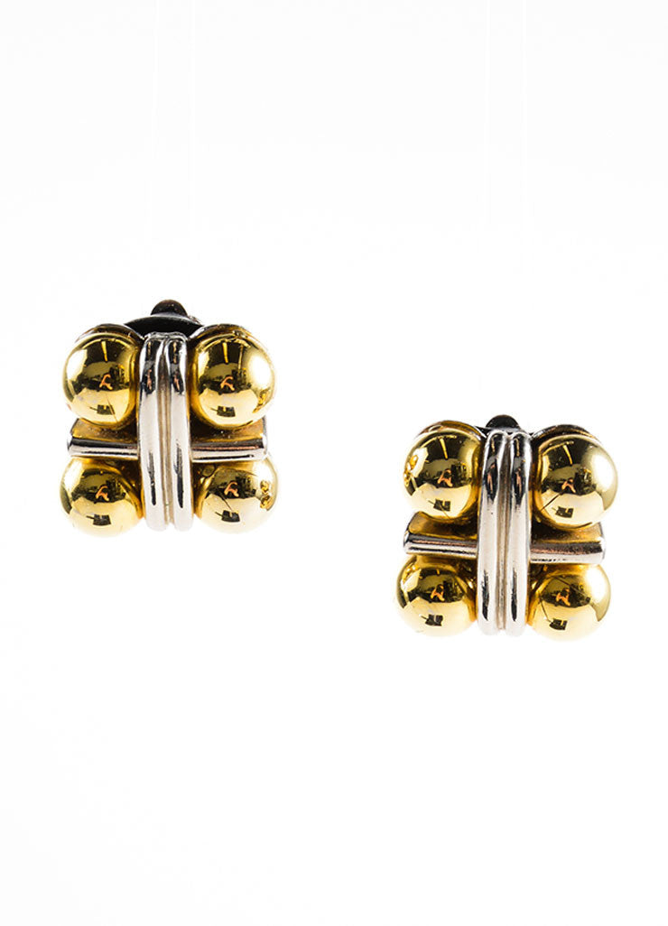 Robert Goossens Silver and Gold Toned Ball Square Earrings Frontview