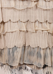 Valentino Beige Fitted Tiered Feather Dress Detail