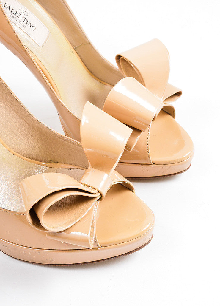 Beige Valentino Patent Leather Oversize Bow Peep Toe Stiletto Pumps Detail