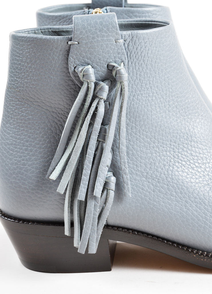 Valentino Grey Pebbled Leather Tassel Ankle Booties Detail