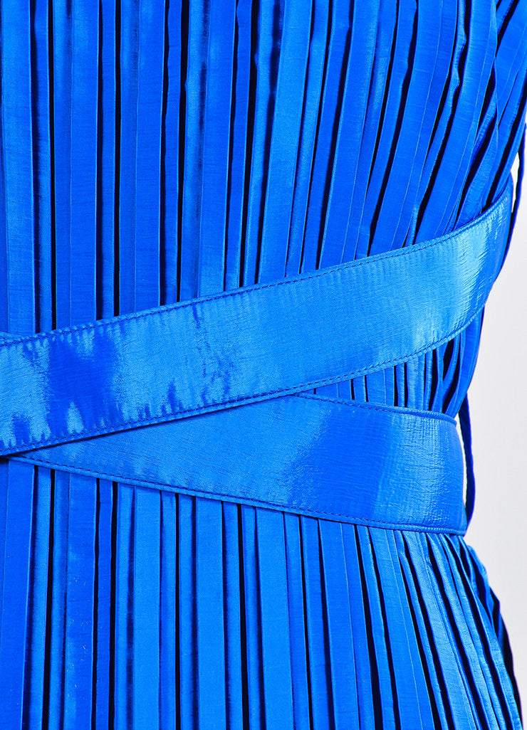 Cobalt Blue Victoria Victoria Beckham Taffeta Pleated Belted Dress Detail