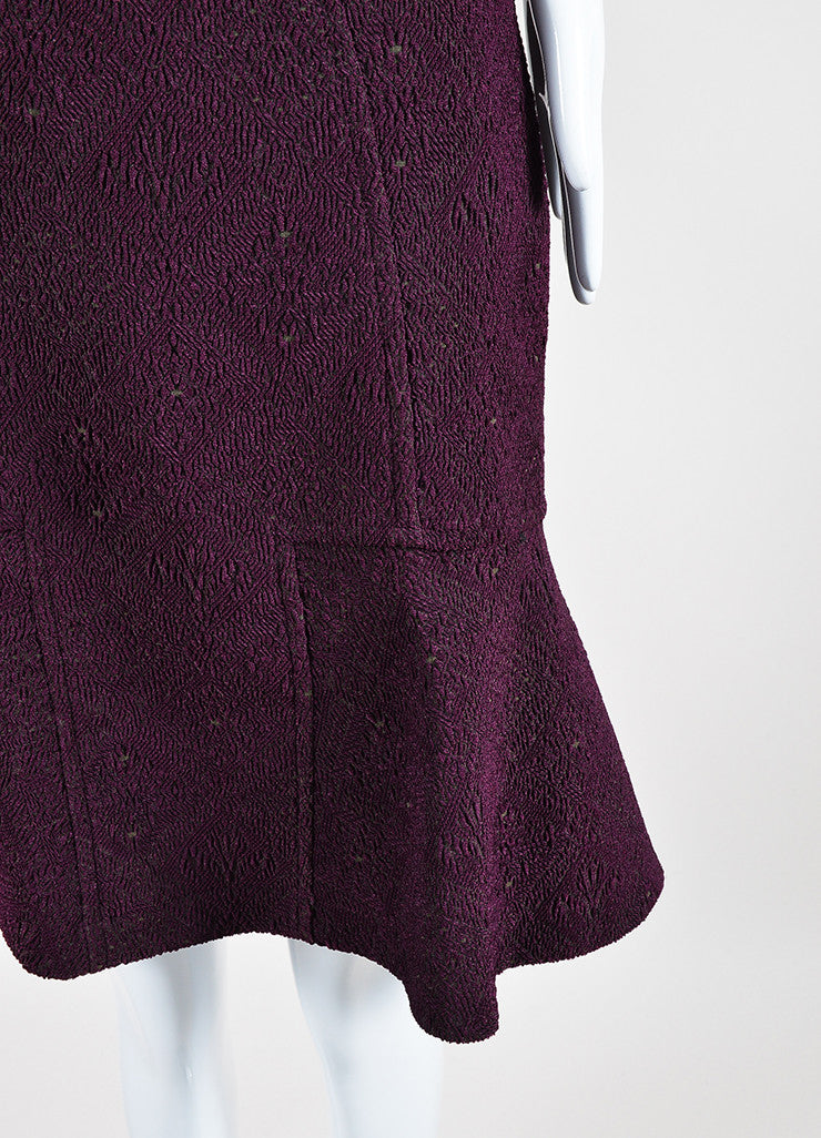Yigal Azrouel Purple Jacquard Long Sleeve Flounce Dress Detail