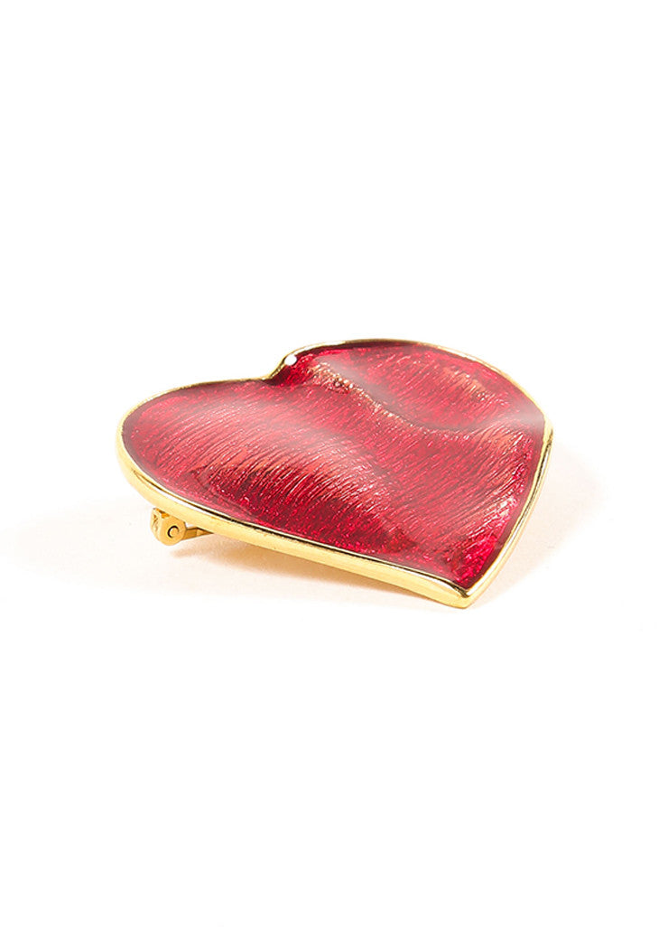 Yves Saint Laurent Red and Gold Toned Enamel Heart Pin Brooch Sideview