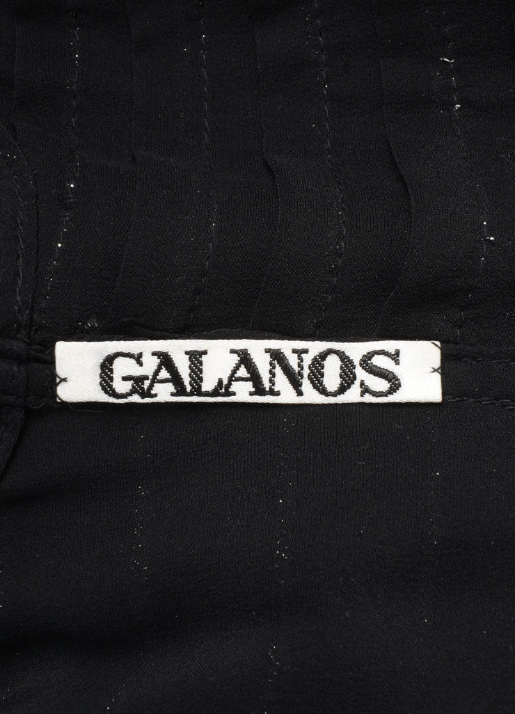 Black and Silver Galanos Metallic Trim Pleated Long Sleeve Button Up Blouse