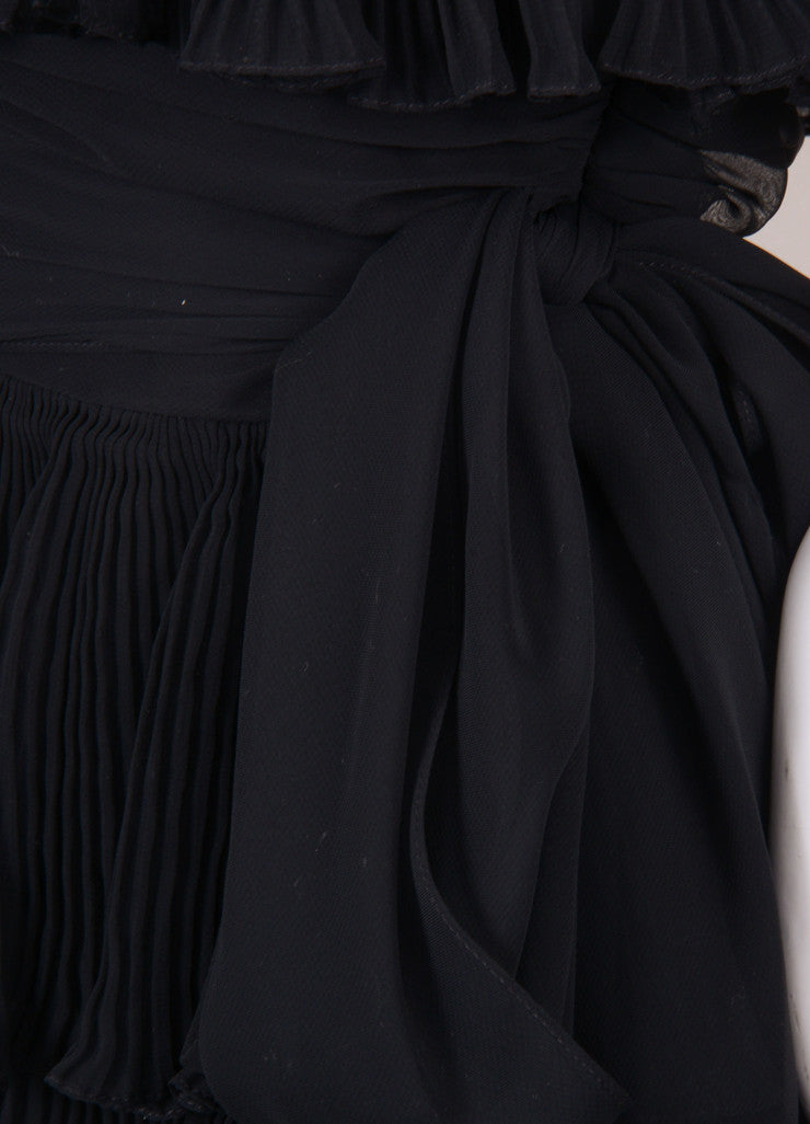 Black Pleated Tier Chiffon Belted Strapless Dress