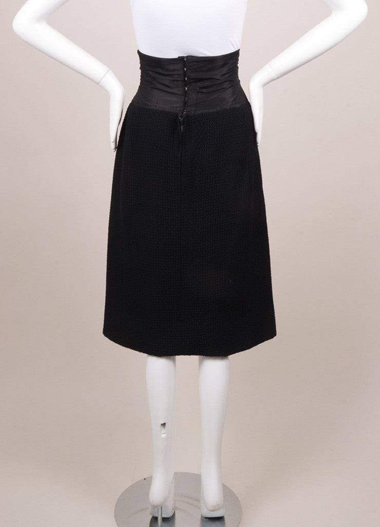 Christian Dior Black Textured High Waisted Pencil Skirt Backview