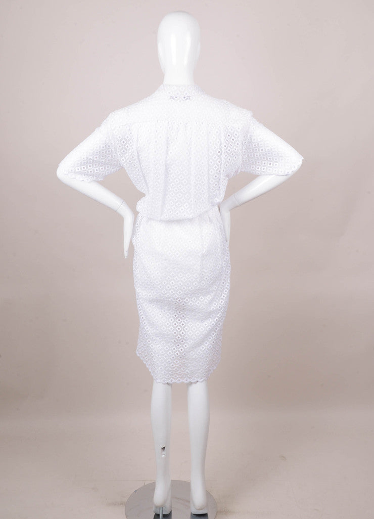 Stella McCartney White Short Sleeve Eyelet Dress