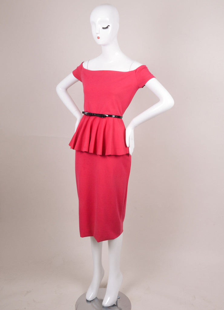 New With Tags Pink Off the Shoulder Peplum Waist Fitted Dress