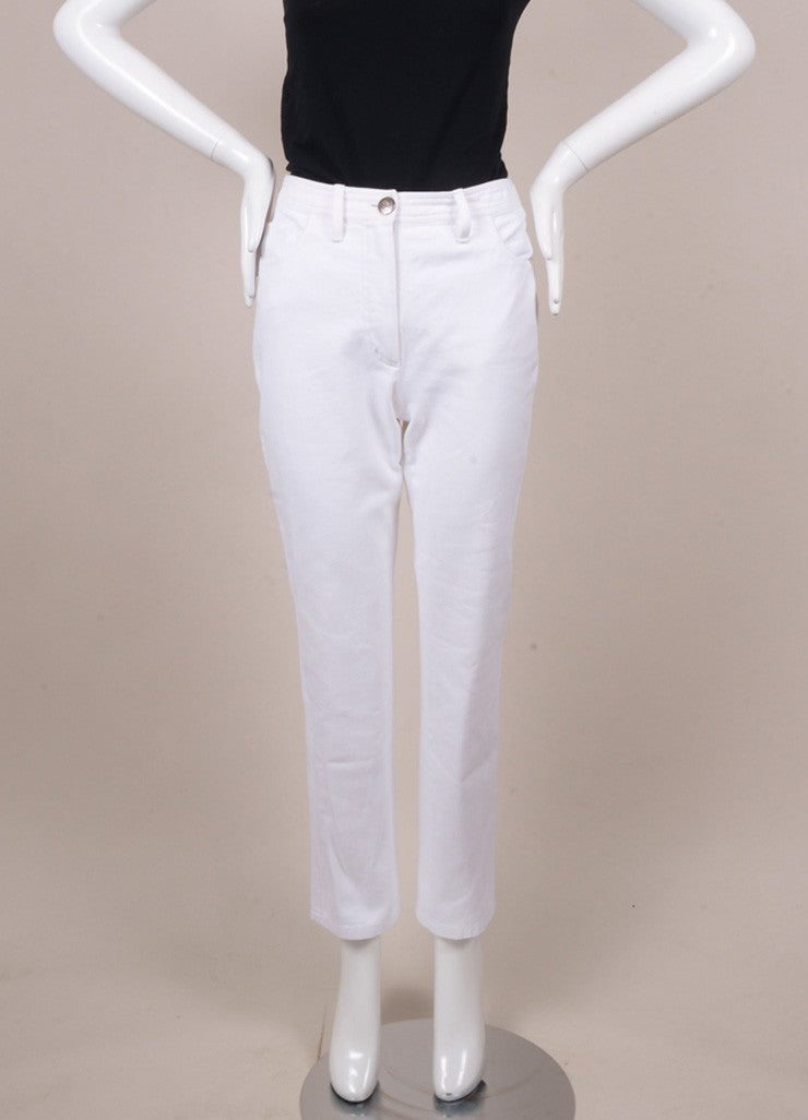 Chanel White Denim Jeans Frontview