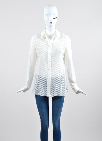 White Akris Punto Lace Semi Sheer Buttoned Long Sleeve Blouse Frontview